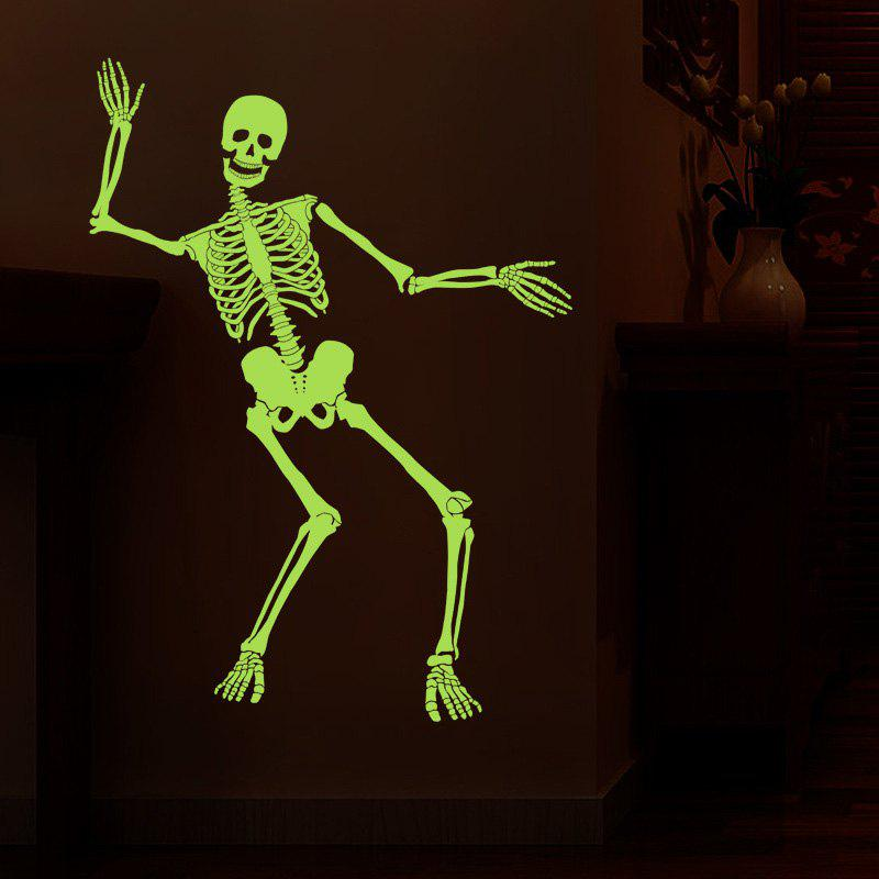 Halloween Human Skeleton Luminous Wall StickerHOME<br><br>Size: 60*90CM; Color: NEON GREEN; Wall Sticker Type: Plane Wall Stickers; Functions: Decorative Wall Stickers; Theme: Shapes; Material: PVC; Feature: Removable; Weight: 0.3889kg; Package Contents: 1 x Wall Sticker;
