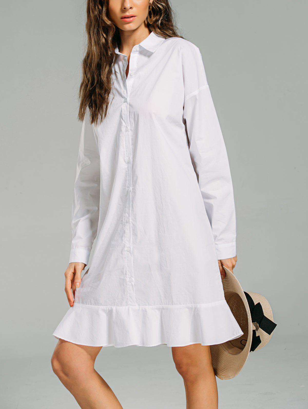 Sale Flounces Button Down Long Shift Shirt Dress