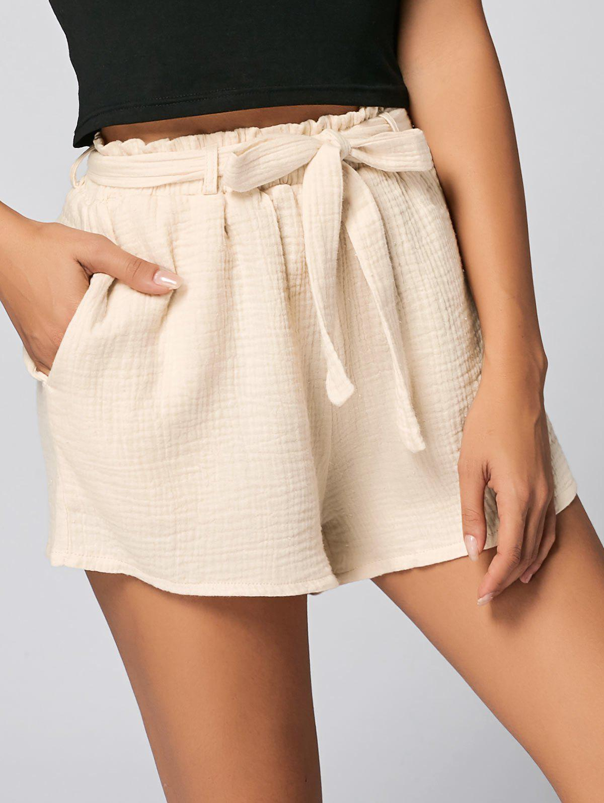 Pockets ShortsWOMEN<br><br>Size: M; Color: PALOMINO; Style: Fashion; Length: Mini; Material: Cotton,Polyester; Fit Type: Regular; Waist Type: Mid; Closure Type: Elastic Waist; Front Style: Flat; Pattern Type: Solid; Embellishment: Pockets; With Belt: Yes; Weight: 0.2700kg; Package Contents: 1 x Shorts  1 x Belt;