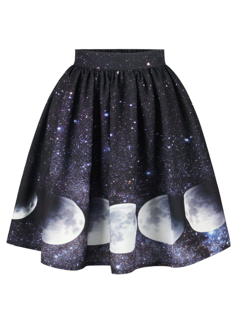 Shop Galaxy Moon Starry Sky Print Skirt
