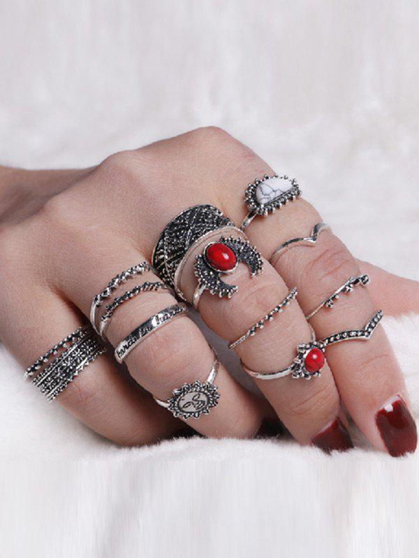Vintage Sun Round Moon Ring SetJEWELRY<br><br>Color: SILVER; Gender: For Women; Metal Type: Alloy; Style: Trendy; Shape/Pattern: Moon; Weight: 0.0500kg; Package Contents: 14 x Rings (Piece);