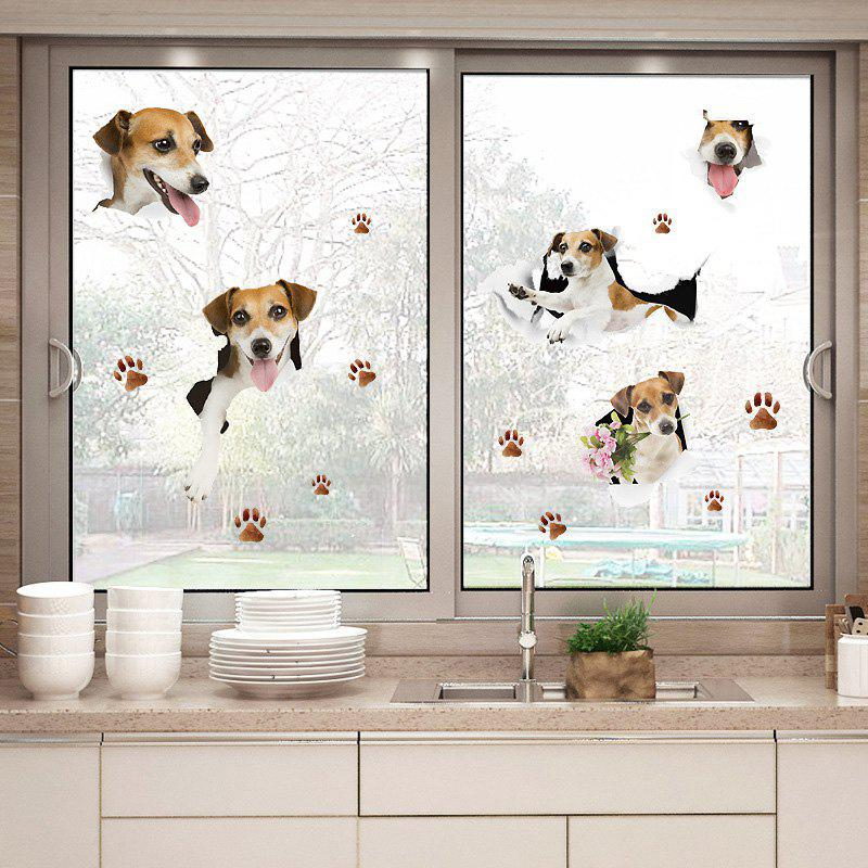 Puppy Dog Window Door Decor Wall StickerHOME<br><br>Size: 50*70CM; Color: LIGHT BROWN; Wall Sticker Type: Plane Wall Stickers; Functions: Decorative Wall Stickers; Theme: Animals; Material: PVC; Feature: Removable; Weight: 0.2600kg; Package Contents: 1 x Wall Sticker;