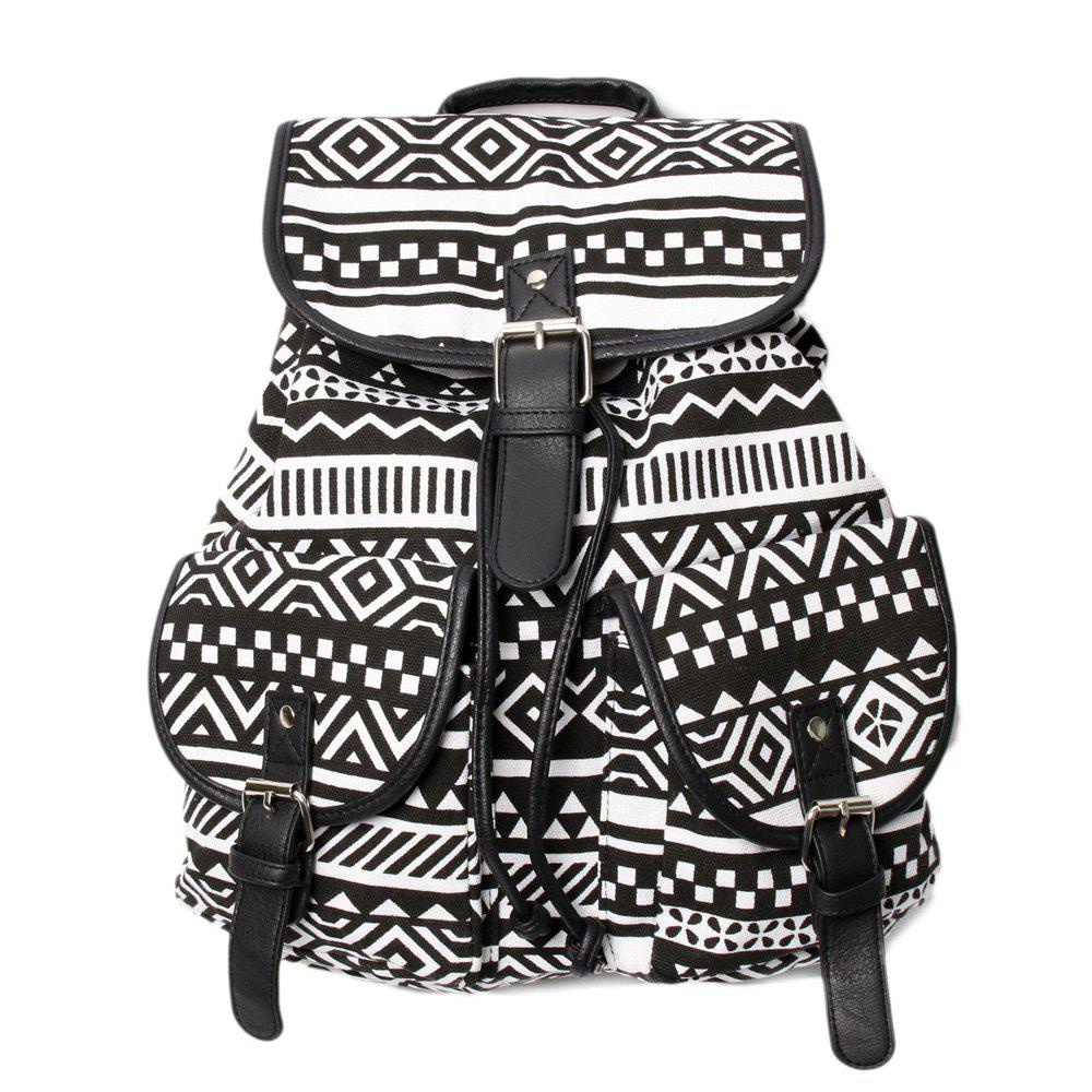 Best Buckles Canvas Ethnic Print Backpack