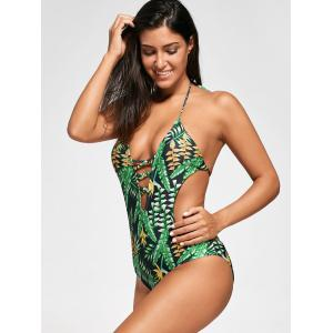 Backless Plunge Monokini with Tropical Print - GREEN S
