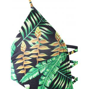 Backless Plunge Monokini with Tropical Print - GREEN M