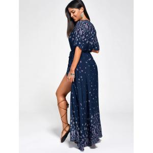 Paisley Slit Wrap Plunge Maxi Boho Dress -