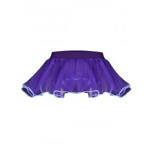 Mesh Tutu Light Up Cosplay Party Skirt - Purple - One Size