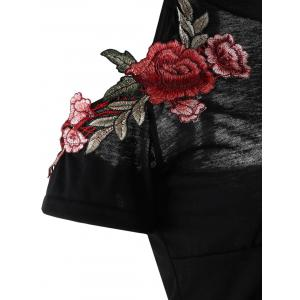 Cold Shoulder Flower Embroidered Halter T-Shirt - BLACK S