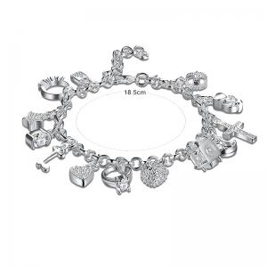 Cross Heart Moon Ball Charm Bracelet - SILVER