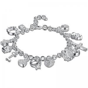 Cross Heart Moon Ball Charm Bracelet