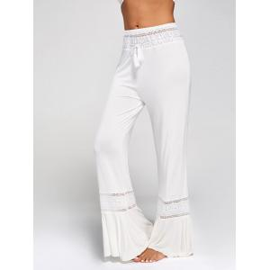 Lace Insert High Waisted Flowy Palazzo Pants - WHITE S