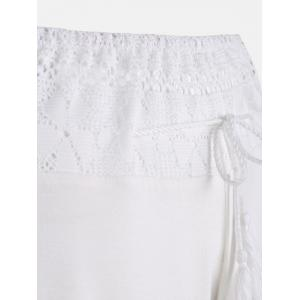 Lace Insert High Waisted Flowy Palazzo Pants - WHITE 2XL