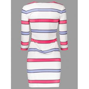 Striped Floral Print T Shirt Dress - WHITE XL