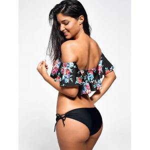 Off Shoulder Flounce Floral Bikini Set - BLACK M