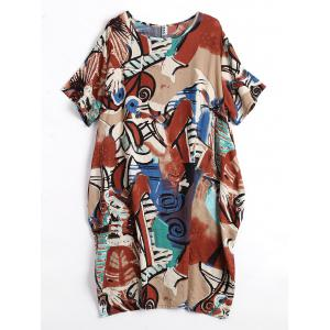 Plus Size Fun Graphic Baggy Dress with Pockets