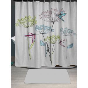 Waterproof Dandelion Bird Print Shower Curtain