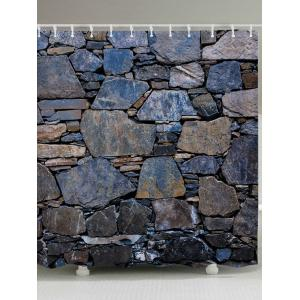 Stone Wall Pattern Fabric Waterproof Bathroom Shower Curtain - Stone Blue - W71 Inch * L79 Inch