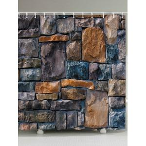 Stone Brick Wall Print Fabric Waterproof Bathroom Shower Curtain - Earthy - W71 Inch * L71 Inch
