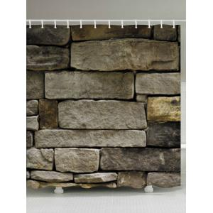 Stone Brick Wall Print Fabric Waterproof Bathroom Shower Curtain - Earthy - W71 Inch * L79 Inch