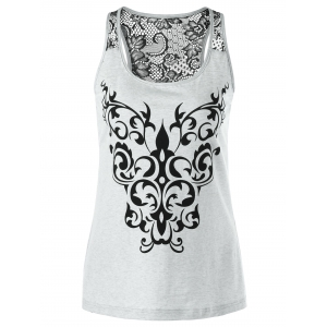 Bandana Floral Lace Trim Tank Top