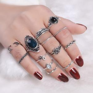 Vintage Moon Finger Cuff Ring Set - Silver