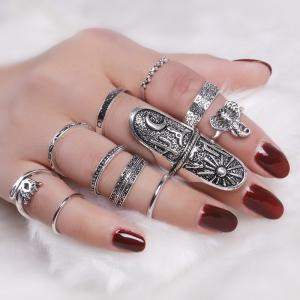 Elephant Moon Sun Full Finger Ring Set