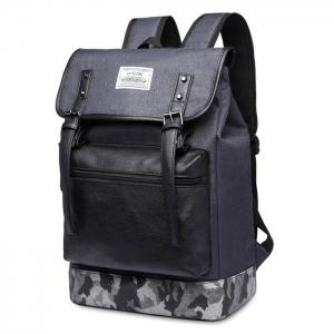 Camo Panel Buckle Straps Backpack - Deep Gray