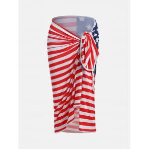 American Flag Patriotic Cover Up Slip Dress - Multicolore S