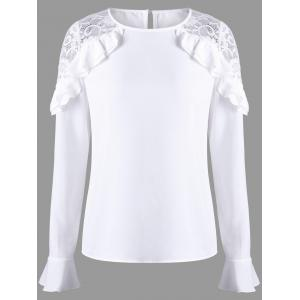 Ruffle Lace Panel Bell Sleeve Blouse - White - 2xl
