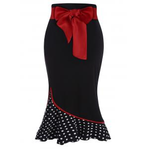 Polka Dot High Waisted Midi jupe