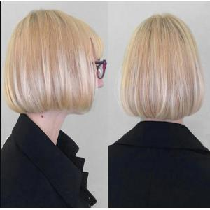 Short Neat Bang Colormix Straight Bob Synthetic Wig