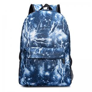 Lightning Print Padded Strap Backpack - Blue