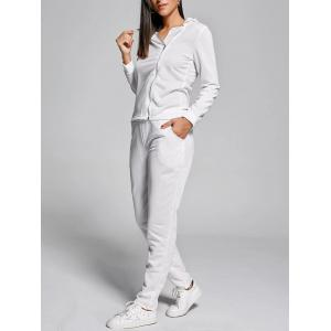 Zip Up Long Sleeve Two Piece Sports Suit - White - Xl