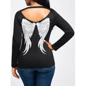 Cut Out Angel Wings Print Long Sleeve T-shirt