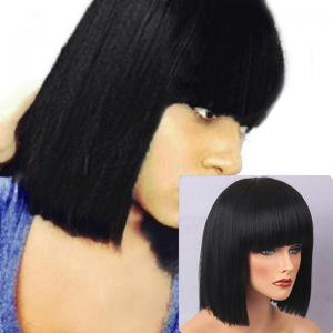 Short Full Bang Straight Bob Human Hair Wig