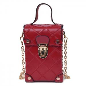 Stitching Cross Body Chain Bag - Red