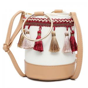 Color Block Tassel Bucket Bag - Apricot - 41