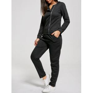 Zip Up Long Sleeve Two Piece Sports Suit - Black - L