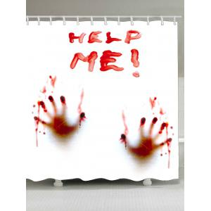 Bloody Help Me Handprint Waterproof Fabric Shower Curtain
