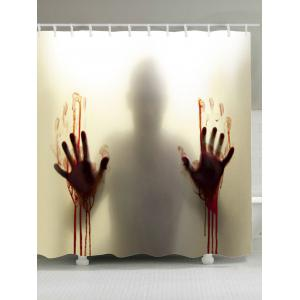 Blood Hand Shadow Printed Polyester Waterproof Shower Curtain - Gray - W71 Inch * L79 Inch