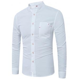 Faux Pocket Grandad Collar Shirt