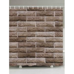 Ceramic Tile Wall Pattern Fabric Waterproof Bathroom Shower Curtain - Light Brown - W71 Inch * L79 Inch