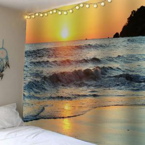 Waterproof Velvet Beach Sunset Wall Hanging Tapestry - Earthy - W59 Inch * L51 Inch