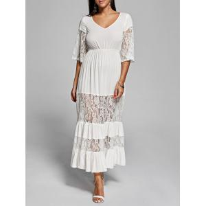Lace Insert V Neck Flowing Dress