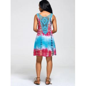 Lace Insert Tie-Dyed Sleeveless Tunic Dress - COLORMIX XL