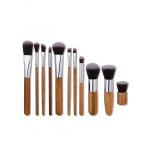 11Pcs Nylon Wooden Handle Makeup Brushes Set