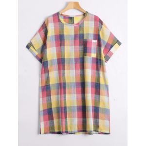 Plus Size Colorful Plaid  Tunic Top - Yellow - 2xl