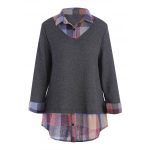 Plus Size Plaid Shirt Collar Long Sleeve Top - Gray - 3xl