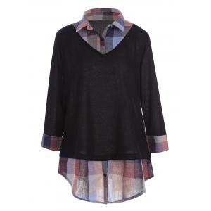 Plus Size Plaid Shirt Collar Long Sleeve Top
