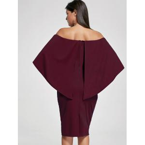 Off Shoulder Capelet Bodycon Cocktail Dress - WINE RED M